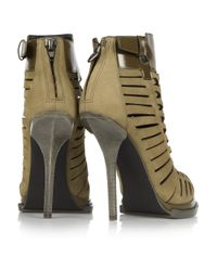 Alexander Wang | Green Andi Suede and Glossed-leather Ankle Boots | Lyst