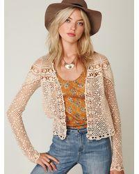 Free People | Natural Fp New Romantics Crochet Cardigan | Lyst