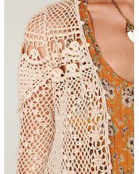 Free People - Natural Fp New Romantics Crochet Cardigan - Lyst
