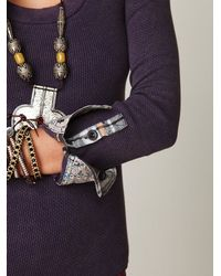 Free People - Purple We The Free Lou Flannel Cuff Thermal - Lyst