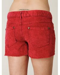 Free People | Red Fp Corduroy Cutoff Shorts | Lyst