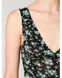 Free People - Black Floral Crop Top - Lyst