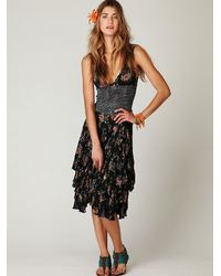 Free People | Black Into You Printed Slip Dress | Lyst