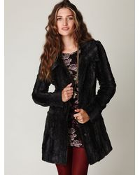 Free People | Black Long and Lean Faux Fur Coat | Lyst