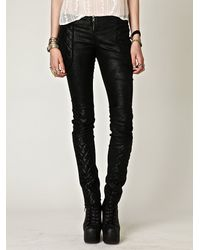 Free People - Black Quilted Leather Pant - Lyst