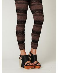 Free People | Black Two-tone Ruffle Legging | Lyst