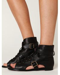 Free People | Black Val Lace Up Peep Toe Boot | Lyst