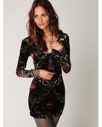 Free People | Black Velvet Burnout Bodycon Slip | Lyst