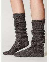 Free People - Black Rib Slouch Tall Sock - Lyst