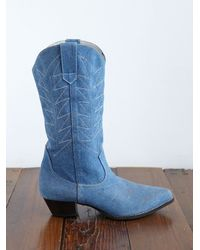 Free People | Blue Vintage Cowboy Boots | Lyst