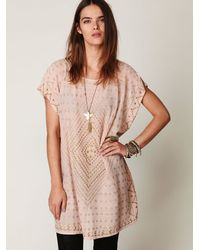 Free People - Pink Fp New Romantics Mesh Poncho - Lyst