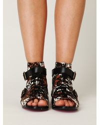 Free People | Brown Val Lace Up Peep Toe Boot | Lyst