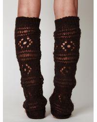 Free People | Brown Aria Crochet Legwarmer | Lyst