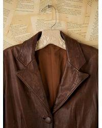 Free People   Vintage Brown Leather Blazer   Lyst