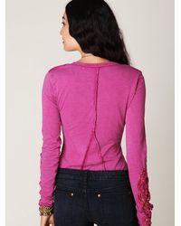 Free People | Purple Crochet Cuff Henley | Lyst