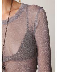 Free People - Gray Glitter Mesh Long Sleeve Layering Top - Lyst