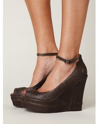 Free People | Brown Notizia Pieced Wedge | Lyst