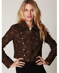 Free People | Black Shrunken Jacquard Military Jacket | Lyst