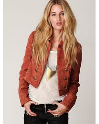 Free People | Brown Shrunken Jacquard Military Jacket | Lyst