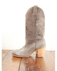 Free People | Gray Vintage Suede Cowboy Boots | Lyst