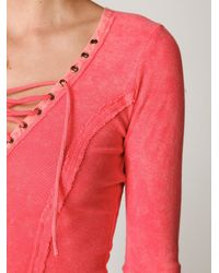 Free People | Pink Chilton Lace Up Long Sleeve Top | Lyst