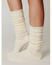 Free People - White Brisa Crochet Tall Sock - Lyst