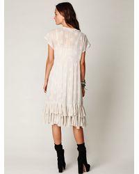 Free People | White Fp New Romantics Foil Tea Length Dress | Lyst