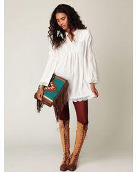 Free People - White Crochet Trim Lurex Tunic - Lyst