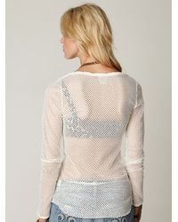 Free People - White Fishnet Long Sleeve Top - Lyst