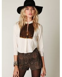 Free People - Brown Fp New Romantics Sequin Button Down - Lyst