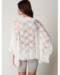 Free People - White Lace Frill Kimono - Lyst