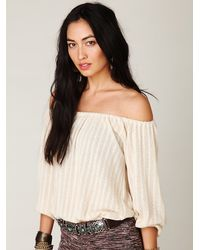 Free People | White Pointelle Peasant Top | Lyst