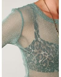 Free People | Green Glitter Mesh Long Sleeve Layering Top | Lyst