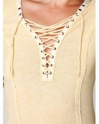 Free People | Yellow Chilton Lace Up Long Sleeve Top | Lyst