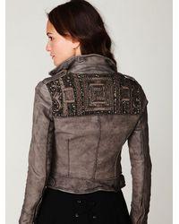 Free People - Gray Embellished Leather Jacket - Lyst