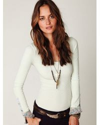 Free People | Green We The Free Lou Flannel Cuff Thermal | Lyst