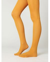 Free People | Yellow London Opaque Tights | Lyst