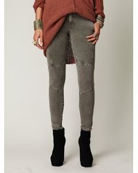 Free People | Green Seamed Knit Skinny Pants with Back Zippers | Lyst