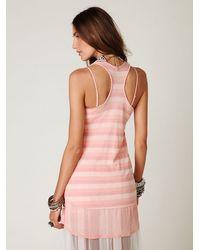 Free People - Pink Striped Ribbed Chiffon High-lo Tank - Lyst