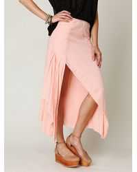 Free People - Pink Fp One Side Slit Maxi Skirt - Lyst