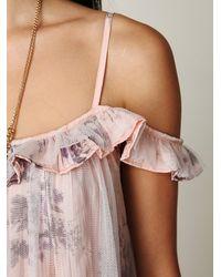 Free People | Pink Printed Off The Shoulder Slip | Lyst