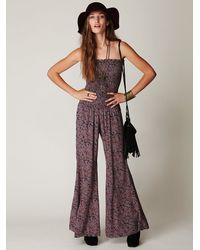 Free People | Purple Fp One Hippie Print Jumpsuit | Lyst