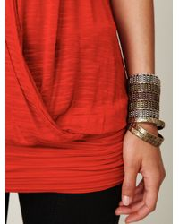 Free People - Red Surplice Banded Bottom Tank - Lyst