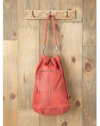 Free People | Red Karina Patched Bucket Tote | Lyst