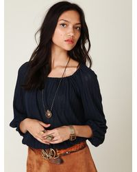 Free People - Blue Pointelle Peasant Top - Lyst