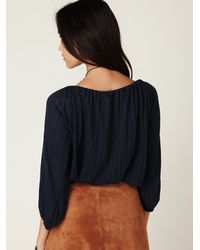 Free People | Blue Pointelle Peasant Top | Lyst