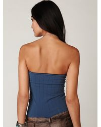 Free People - Blue Seamless Corset Top - Lyst