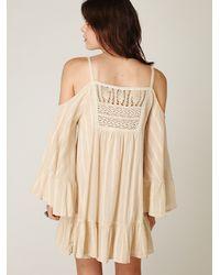Free People - Natural Angel Wings Open Shoulder Dress - Lyst