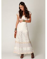 Free People | White Crochet Short Sleeve Maxi Dress | Lyst