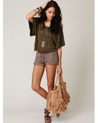 Free People | Brown Cable Knit Shorts | Lyst